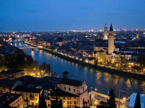 A view of Verona at night